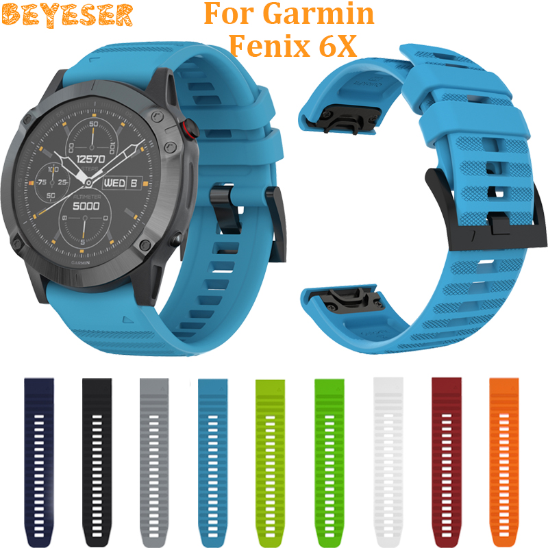 Easy Fit Silicone Wristband For Garmin Fenix 6X Pro 5X 5X Plus Smart Accessories 26mm Quick Release For Fenix 3/3 HR Watch Strap