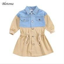 Outerwear Trench-Coat Drawstring Baby-Girl Denim Fashion Autumn Blotona Kid Patchwork