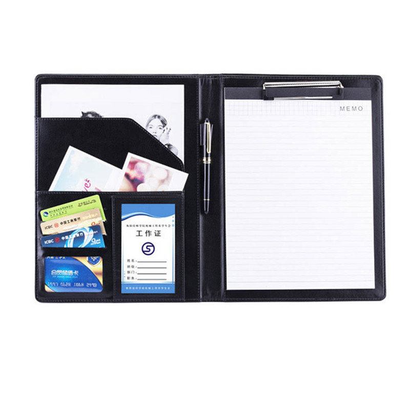 A4 PU Leather File Folder Multifunction Office Supplies Organizer Card Holder Manager Document Pads Briefcase Padfolio Bags