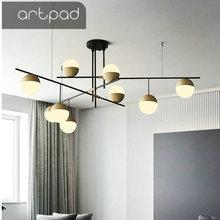 Artpad Italy Nordic Round Ball Pendant Lamp Minimalist Light Bar Kitchen Dining room Living room Luxury Creative Pendant Lights