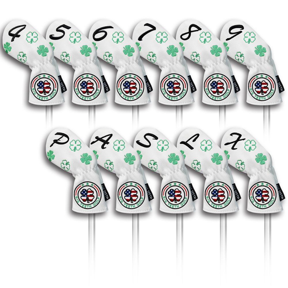 Grandes dents Golf fer couverture couvre-chef Golf fer tête couvre Golf Club fer couvre coins 4,5, 6,7, 8,9, P, A, S, L, X livraison gratuite