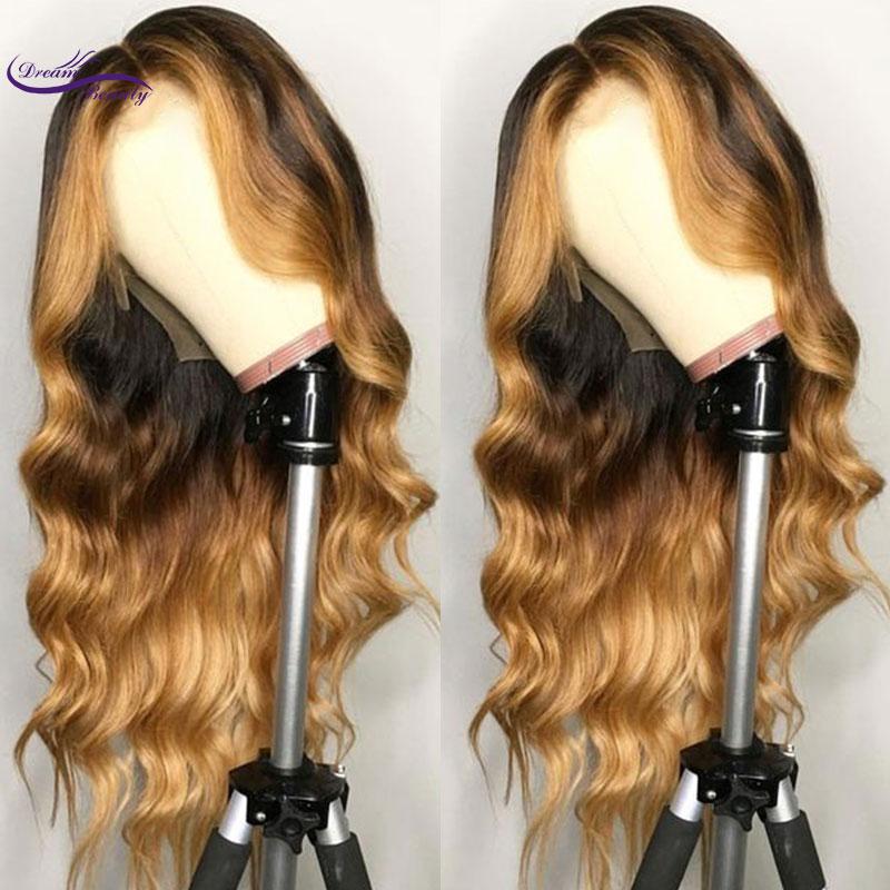 Бразильские волосы remy, парик на кружеве, волнистые, Омбре, блонд, выделяет цвет, плотность 180%, средняя часть, предварительно выщипанная, Dream ...