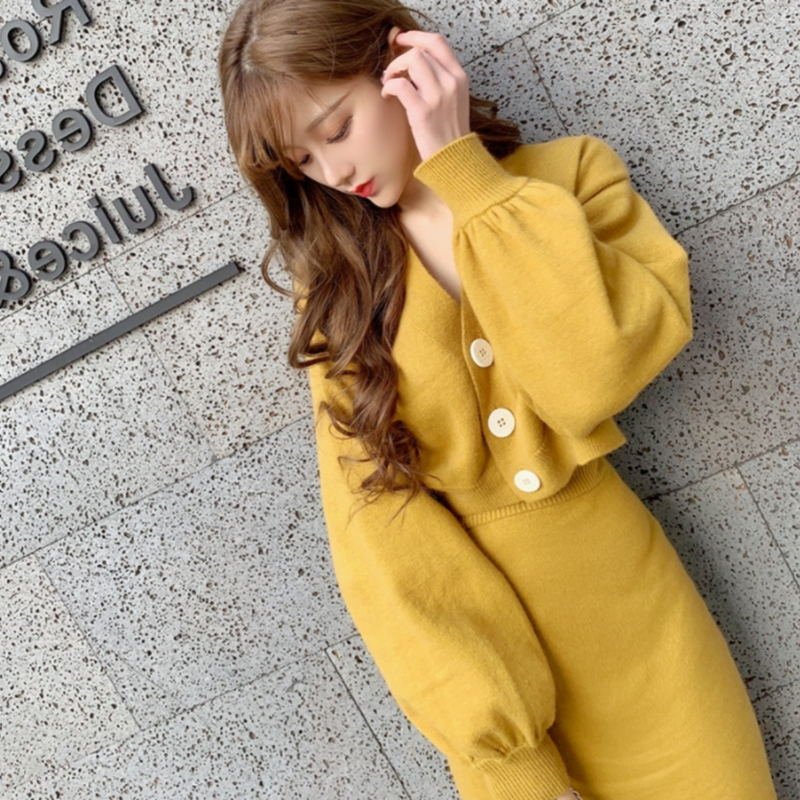 2019 New Fashion Women's Two Piece Set Sweater+ Skirt French Knit Two-piece Women