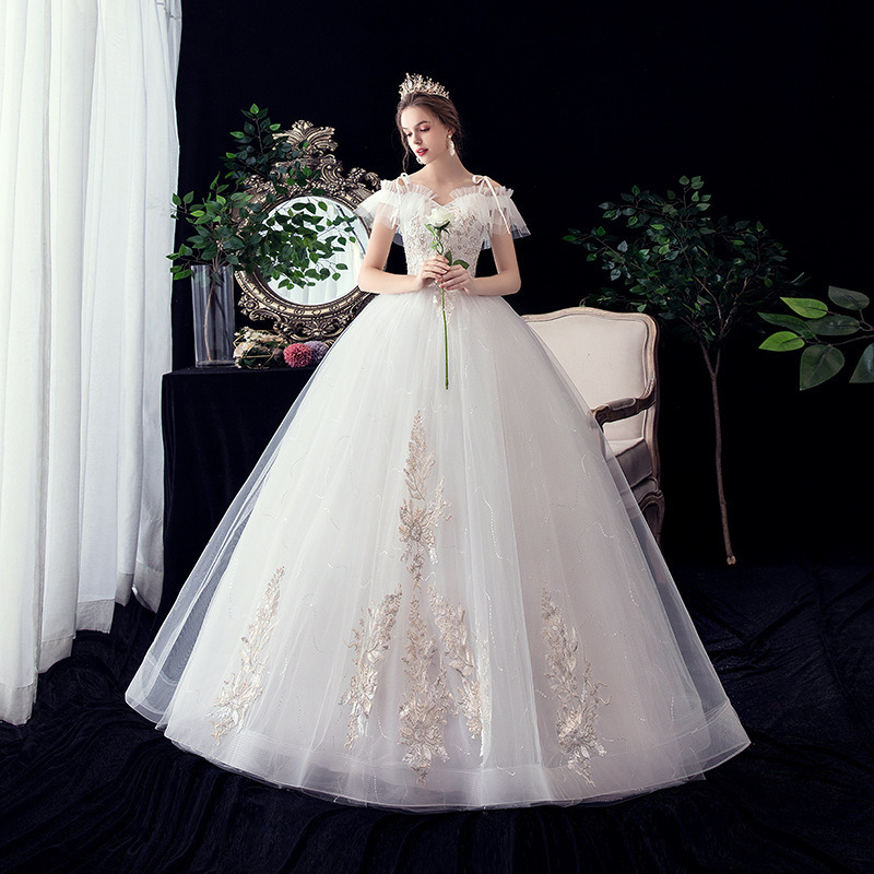 YULUOSHA Bridal Gown Wedding Dresses Backless Lace Up Appliques Brush Train Floor-Length Modest Dress For Women Sexy Gown Dress