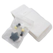 Chenkai 100 adet bebek diş kaşıyıcı beyaz 12x18cm plastik ekran çanta BPA ücretsiz silikon boncuk paketi takı kolye çanta