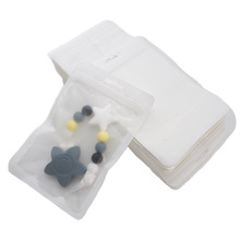 Chenkai 100 sztuk Baby Teether biały 12x18cm plastikowe torby ekspozycyjne silikon bez BPA koraliki pakiet biżuteria wisiorek torby