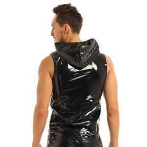 Image 4 - Erkek Punk Moda Kulübü Üstleri Islak Görünüm Patent Deri kolsuz kapüşonlu üst Clubwear Hip Hop Tank Top Fermuar Kapatma ile Erkek Giyim