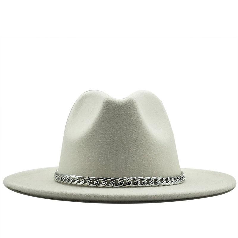 2020 New Quality Wide Brim Fedora Hat Women Men Imitation Wool Felt Hats With Metal Chain Decor Panama Fedoras Chapeau Sombrero