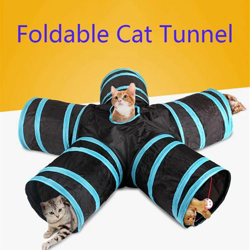 Hot 2/3/4/5 Holes 14 Colors Foldable Pet Cat Tunnel Indoor Outdoor Pet Cat Training Toy for Cat Rabbit Animal Play Tunnel Tube-in Cat Toys from Home & Garden