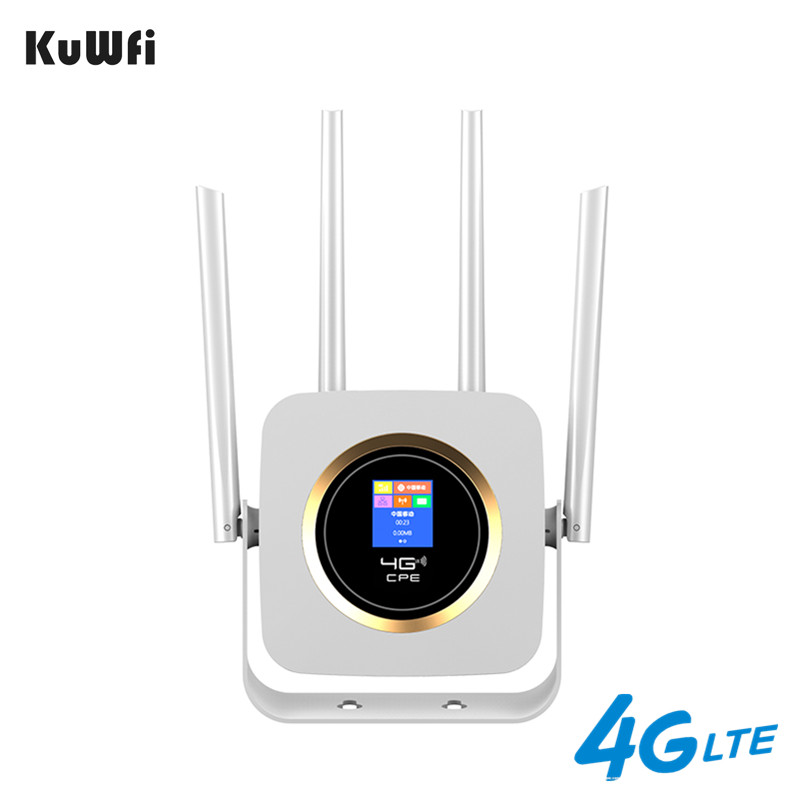 KuWFI 4G Router Sim Buit-in Power Bank Wifi Router Unlocked 3G/4G CPE CAT4 150Mbps Mobile Wifi Hotspot With Sim Card Slot