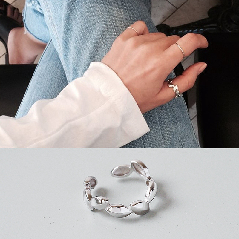 S925 Sterling Silver Thumb Rings For Women Trendy Simple Stray Leaves Plain Silver Lady Ring Gift Korean Jewelry