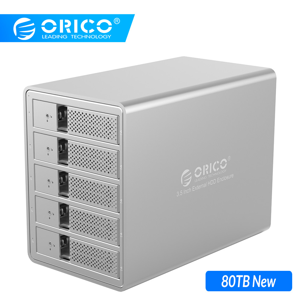 ORICO Aluminium 5 Bay 3.5 '' SATA naar USB 3.0 HDD Docking Station Ondersteuning 80TB UASP Voeg 150W interne Power Adaper SSD HDD-behuizing toe