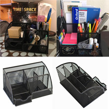 Office Desk Organizer with 6 Compartments Drawer | The Mesh Collection Black Desktop Storage Office Desk Organizer 2020 new