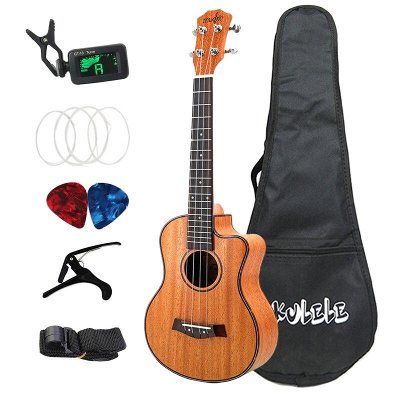 26 pouces ukulélé ensemble 19 frette ténor acajou bois ukulélé Hawaii 4 cordes Mini guitare Guitarra palissandre touche chevilles en métal