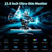 23.8 cala Slim Monitor HD 1080P ekran IPS 1920*1080 rozdzielczość 178 ° kąt widzenia niskie niebieskie światło Monitor do pielęgnacji oczu wtyczka EU/US