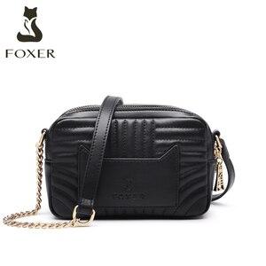 Image 2 - Foxerスプリットレザー女性ファッションショルダーバッグカジュアル女性クラシックブランドバッグ大容量女性のクロスボディバッグ小財布