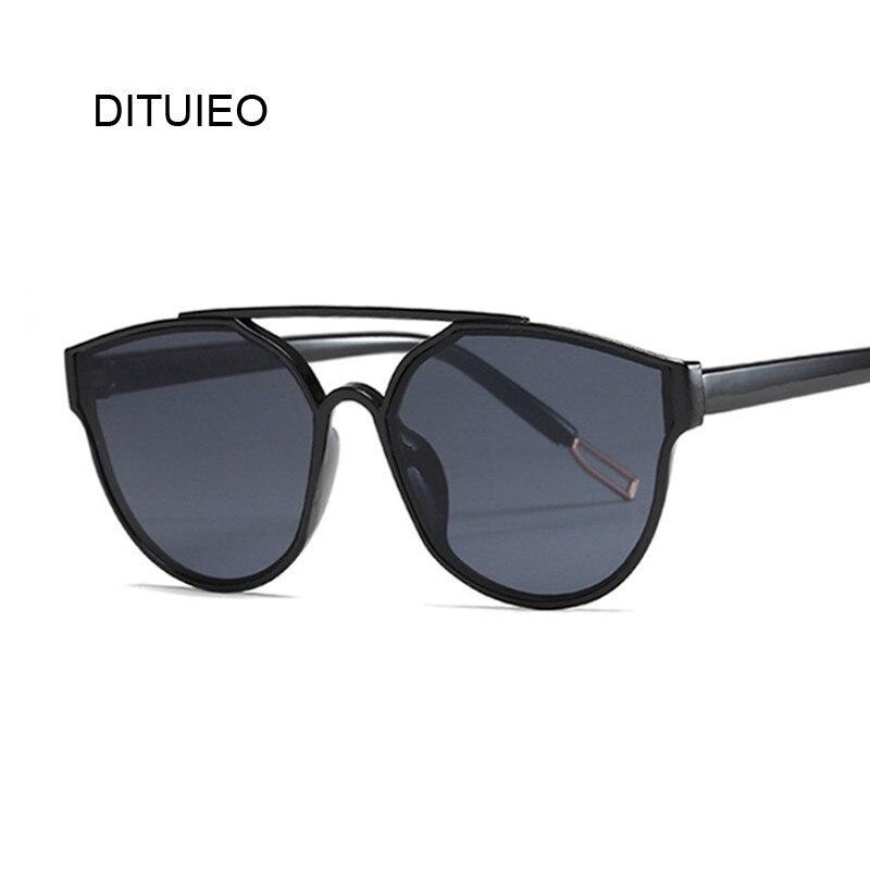 Fashion Brand Cat Eye Sunglasses Women Twin-Beams Sun Glasses Female Retro Coating Mirror Glasses Flat Panel Lens