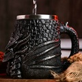 Dragão cabeça de aço inoxidável resina 3d cerveja medieval caneca goblet jogo dos tronos tankard copo café copo vinho vidro canecas melhor tem presente