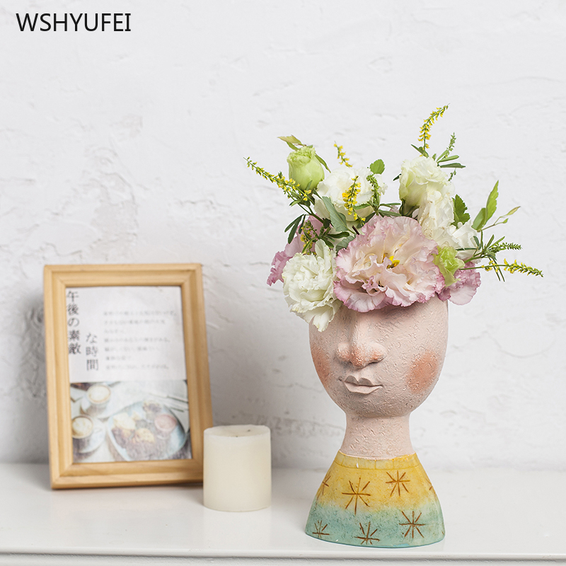 Direct sales new happy home boys and girls portrait art vase decoration flowers fleshy flower pots flower decoration ornaments