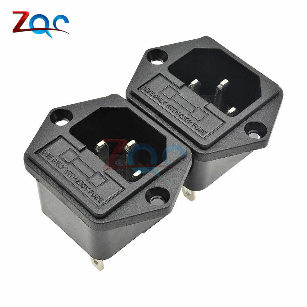 10Pcs 3Pin IEC 320 C14 AC 250V 10A Male Panel Power Converter Inlet Plug Adapter