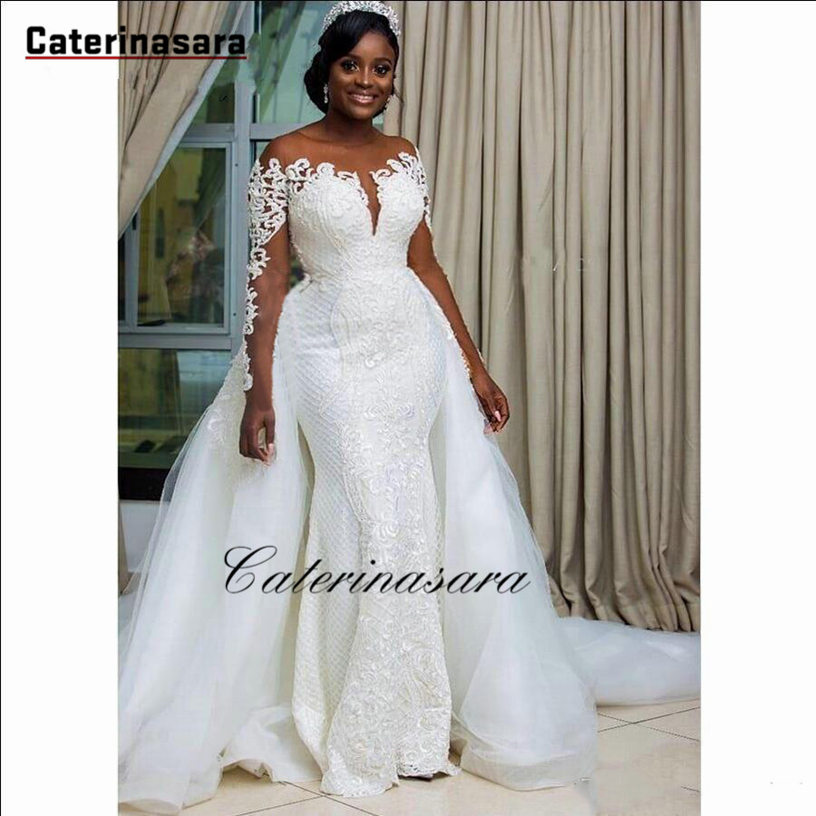Sexy African Long Sleeves Lace Appliqued Mermaid Wedding Dress ...