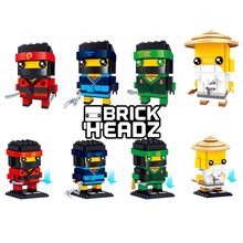 Model Building Blocks Bricks Kids Toys BrickHeads BuildingBlocks NINJA Brickheadz Kai Jay Lloyd Master Wu ninjago mini figures