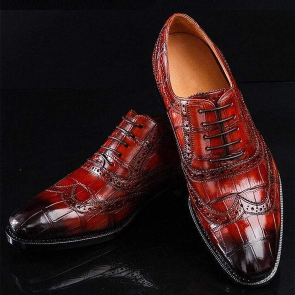 Men Leather Shoes Lace Up Casual Shoes Dress Shoes Brogue Shoes Spring Ankle Boots Vintage Classic Male Casual F54