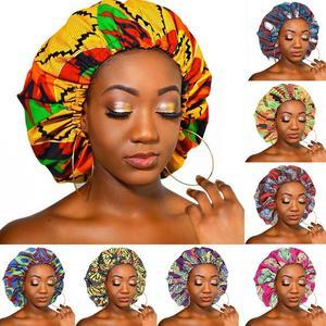 Image 1 - Nowa bardzo duża satynowa podszewka maski kobiety afrykański wzór nadruk na tkaninie Ankara Bonnets nocny czepek do spania panie Turban