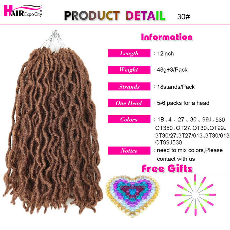12Inch Goddess Faux Locs Crochet Hair Synthetic Wave Hair Ombre Braiding Hair Extensions Handmade 18Strands Hair Expo City