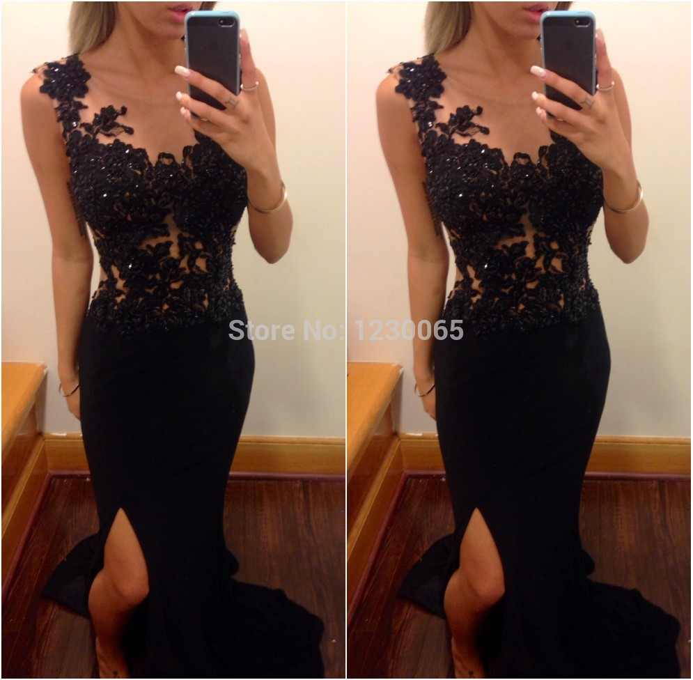 Sexy High Side Slit Special Occasion 2018 Sleeveless Black Lace Prom Vestido De Festa Free Shipping Mother Of The Bride Dresses