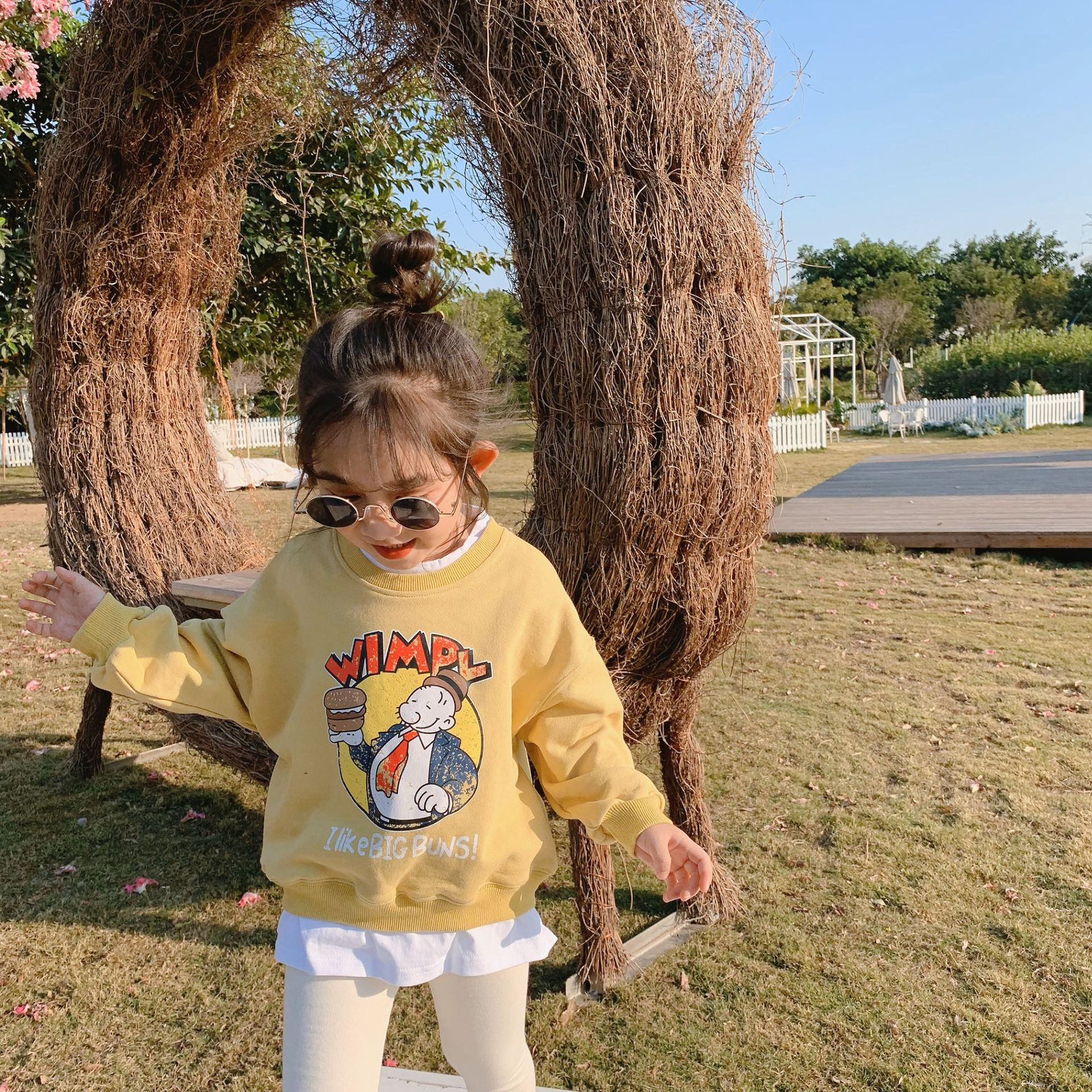 Spring New Arrival Korean Style Cotton Cartoon Letters Printed Long Sleeve Hoodie With Leaf Side For Fashion Cute Baby Girls