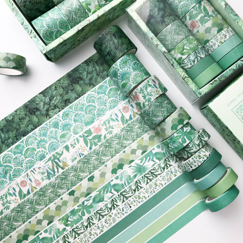 12 Pcs/Set Green Plant Washi Tape Solid Color Masking Tape Decorative Adhesive Tape Sticker Scrapbooking Diary Stationery Supply