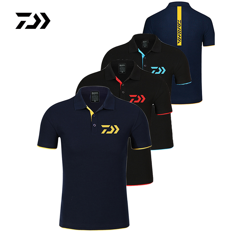 Daiwa Clothing Fishing Tshirt Men Breathable Quick Dry Fishing Clothes Outdoor Clothing Short Sleeve Sport Shirt Polo T-shirt
