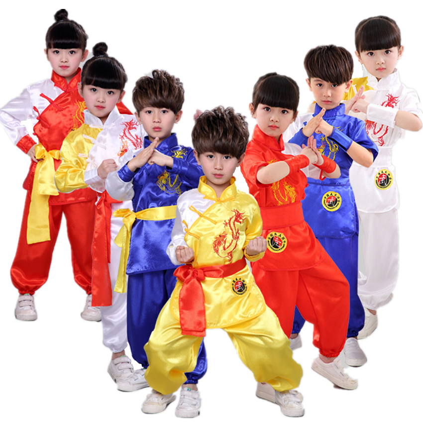 Kids Wushu Clothing Embroidery Dragon Kungfu Uniform Chinese Traditional TaiChi Suit Children Stage Performance Shaolin Costumes