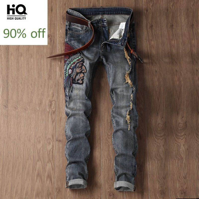 Embroidery Jeans Men Slim Fit Pencil Pants Vintage Ripped Hole Trousers Men Autumn Personalized Harajuku Zipper Fly Jeans Pants
