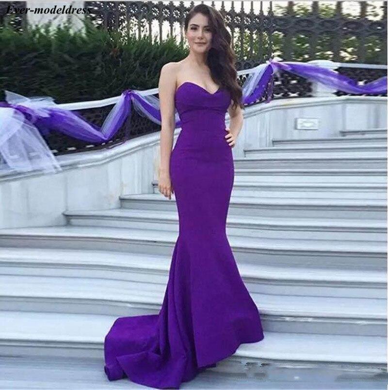 Purple Mermaid   Prom     Dresses   2019 Sweetheart Zipper Back Sweep Train Wedding Formal Party Gowns Evening   Dress   Vestidos De Festa