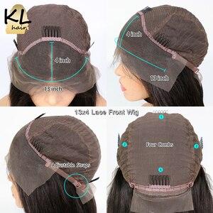 Image 5 - KL dantel ön İnsan saç peruk düz ön koparıp bebek saç 8 26 brezilyalı Remy 130% yoğunluklu 5 Derin bölümü T parçası dantel peruk