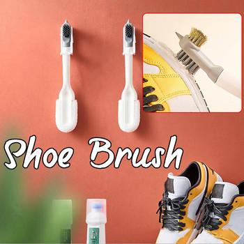 Długa rączka podwójna główka szczotka do butów gospodarstwa domowego silikonowa miękka szczotka do czyszczenia butów FFT tanie i dobre opinie CN (pochodzenie) silicone shoe brush