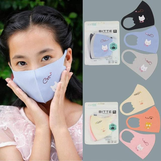 3PCS Kids Mask Boys Girls Comfortable Face Mask Breathable Reusable Cartoon Children Mask