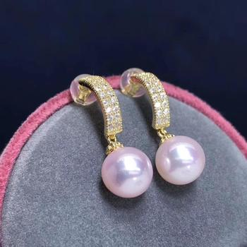 Pearl Pure 925 Sterling Silver Fine Jewelry Fresh Pink Pearl 8-9mm Round Pearl Dangle Earrings for Women Fine Pearl Earrings