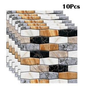 10Pcs 3D Wall Sticker Tile Mar