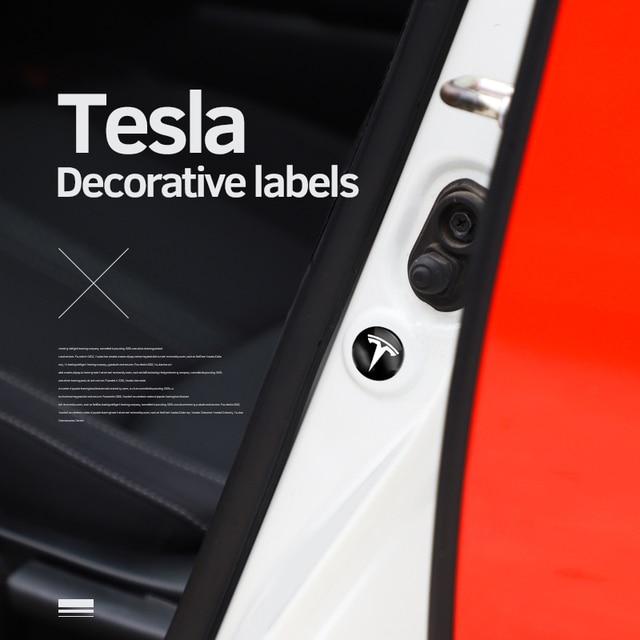 4Pcs ใหม่สไตล์ PVC รถประตู Anti Abrasion ปะเก็นสติกเกอร์โลโก้สำหรับ Tesla รุ่น3รุ่น X รุ่น S รุ่น Y อุปกรณ์เสริมอัตโนมัติ