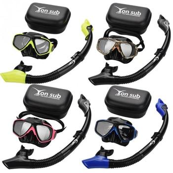 Yon Sub Professional Diving Mask Snorkel Anti-Fog Goggles Glasses Set Swimming Equipment Breathing Tube Eye Protector