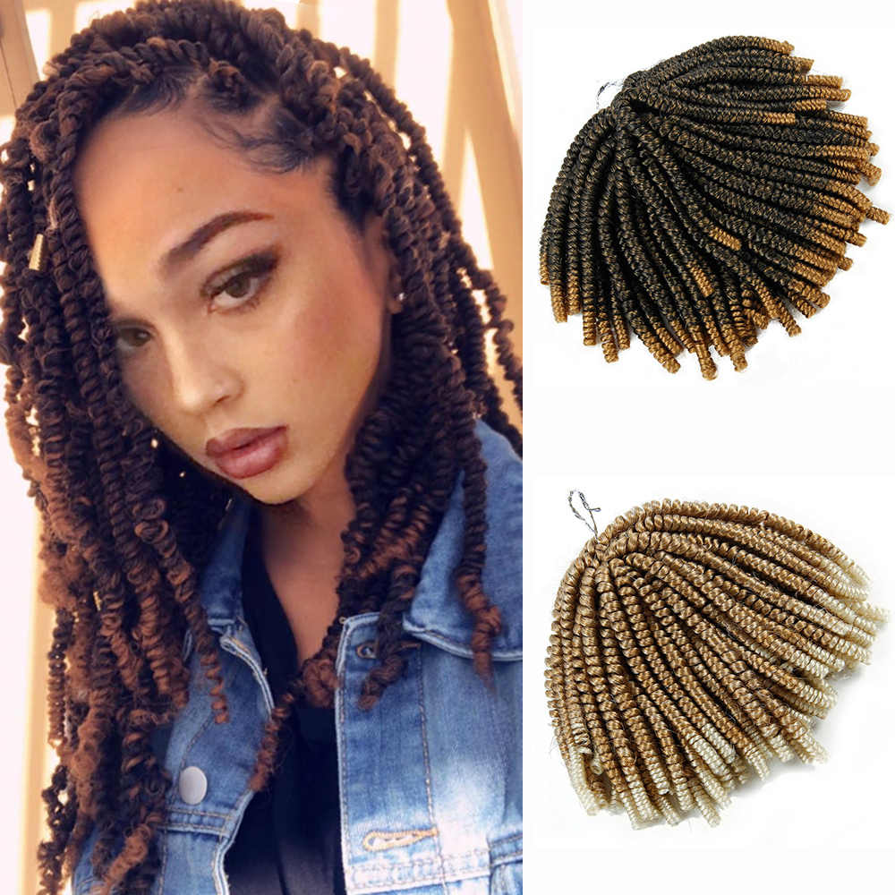 60 Strands Spring Twist Hair Extensions Black 613 Ombre Crochet Braids Synthetic Braiding Hair Nubian Twist Bounce Curl
