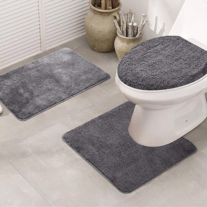 Image 1 - 3pcs Bathroom Shower Water Absorption Rug Non Slip Fish Scale Bath Mat Set Kitchen Toilet Rugs Mats Floor Carpet Doormats Decor
