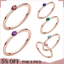 2021 Valentine's Day Trendy 925 Sterling Silver Rose Gold Rings Red Pink Zircon For Women Engagement Anniversary Jewelry Gift