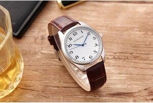Image 2 - Мужские кварцевые часы с синими указателями, мужские часы с узором в клетку, черные, коричневые кожаные водонепроницаемые спортивные часы, мужские часы в подарок