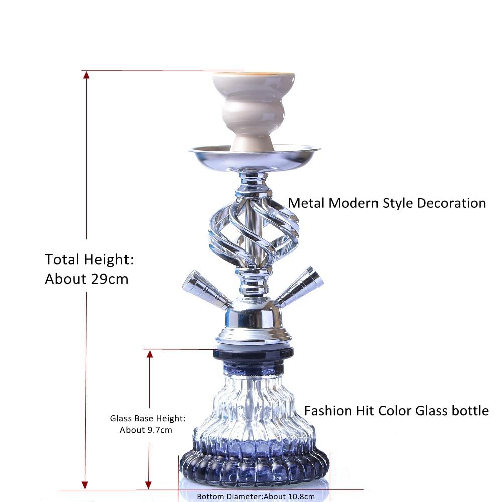 Modern Travel Cloud Hookah Double Hose Glass Shisha Pipe Nargile Chichas with Narguile Hose Bowl Charcoal Tongs Gift Wedding-2