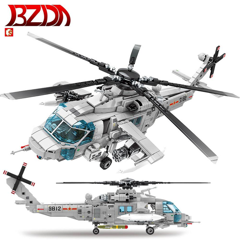 SEMBO Building Blocks Bricks Military Army Helicopter Z-20 Copter Toy 5 Figures