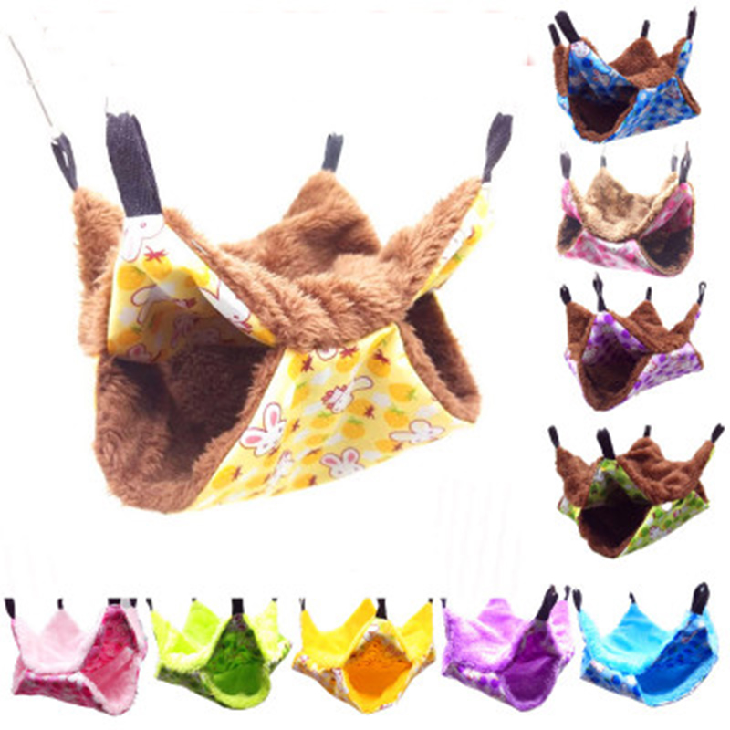 Warm Hamster Hammock Hanging Bed House Winter Small Animal Squirrel Guinea Pig Double-layer Plush Cotton Nest Pet Supplies